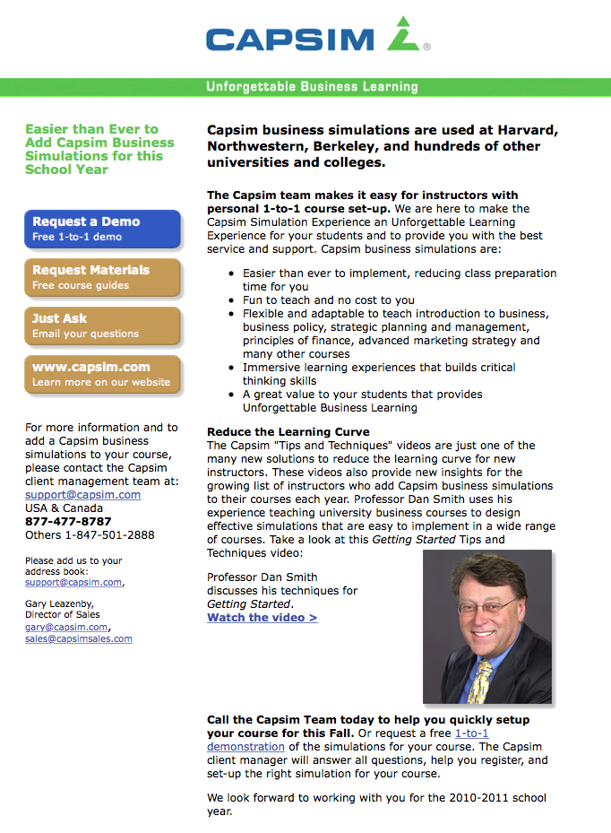 capsim strategies Rating and reviews for professor james zeigler from bowling green state university bowling green, oh united states.